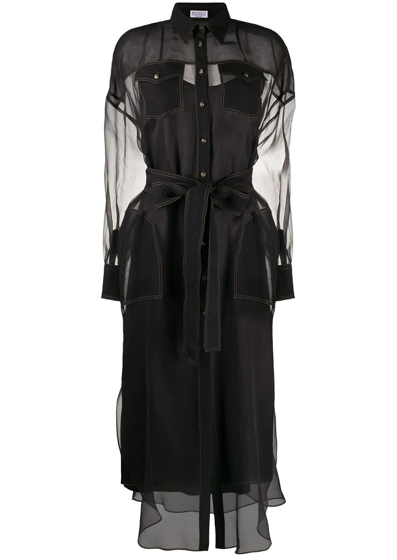 Brunello Cucinelli contrast stitching silk shirt dress
