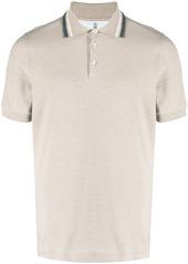 Brunello Cucinelli contrasting collar trim polo shirt