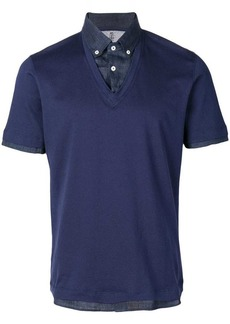 Brunello Cucinelli contrasting denim polo shirt