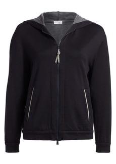 Brunello Cucinelli Cotton & Silk Zip-Front Hoodie