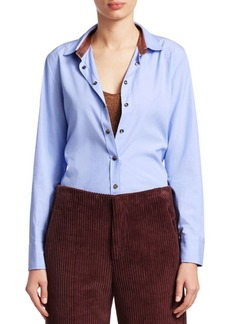 Brunello Cucinelli Cotton Chambray Shirt with Contrast