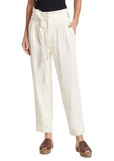 Brunello Cucinelli Cotton Chevron Paper-Bag Pants