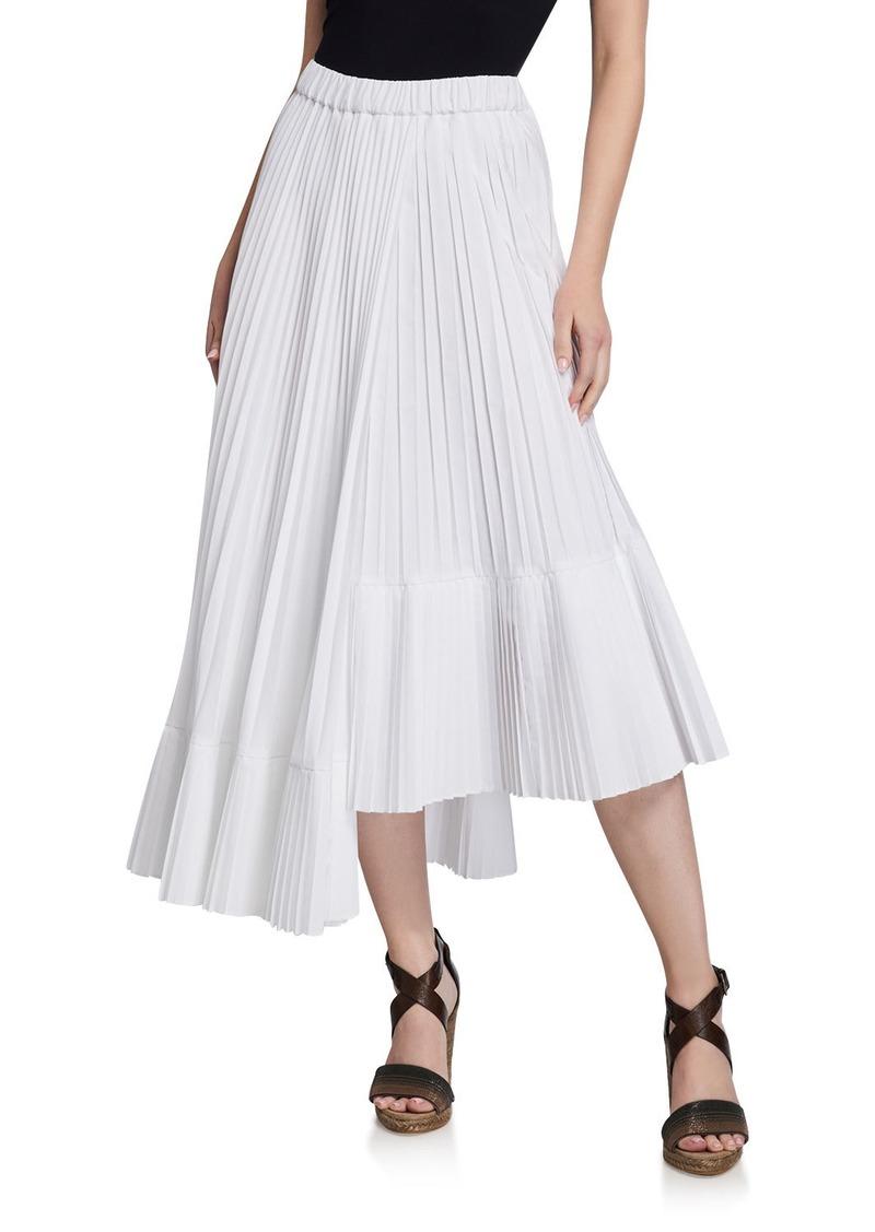 Brunello Cucinelli Cotton Faux Wrap Pleated Midi Skirt