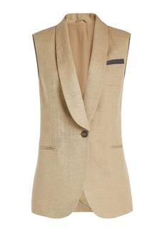 Brunello Cucinelli Cotton-Linen Vest with Embellishment