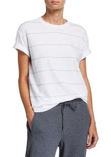 Brunello Cucinelli Cotton Micro Sequin-Striped T-Shirt
