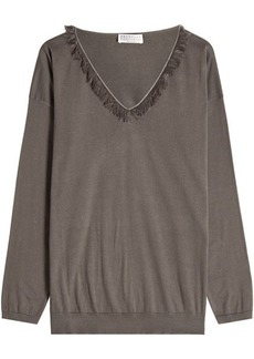 Brunello Cucinelli Cotton Pullover with Fringe Trim and Embellishment