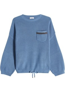 Brunello Cucinelli Cotton Pullover with Voluminous Sleeves