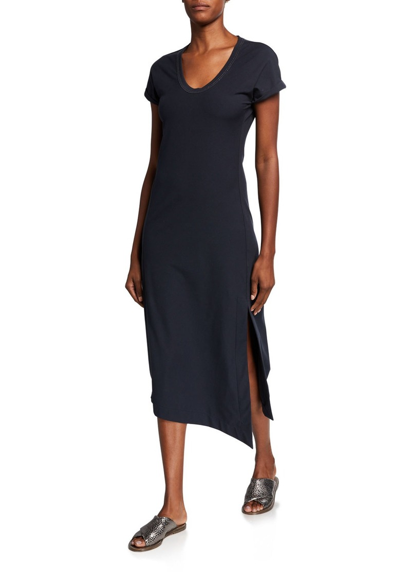 Brunello Cucinelli Couture Jersey Scoop-Neck Dress