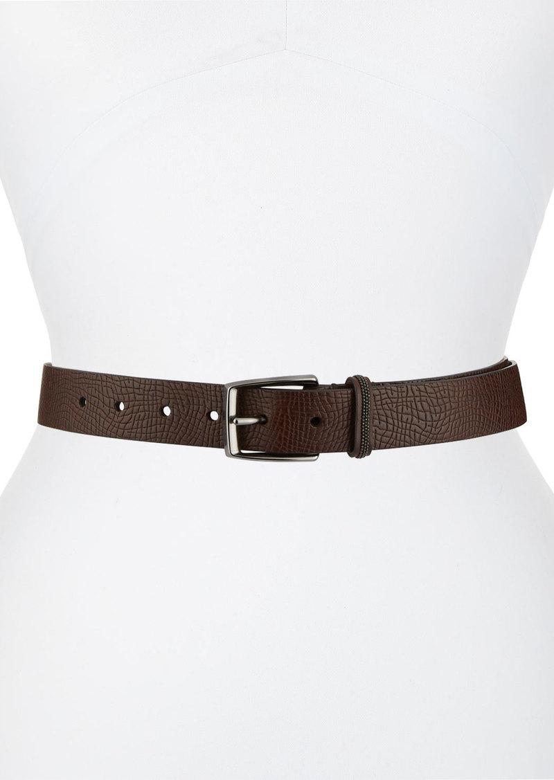Brunello Cucinelli Cracked Leather Belt w/ Monili Belt Loop