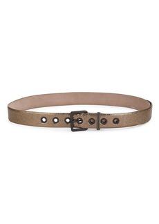 Brunello Cucinelli Cracked Metallic Leather Belt