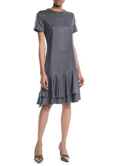 Brunello Cucinelli Crewneck Short-Sleeve Metallic-Wool A-Line Dress w/ Flounce Hem