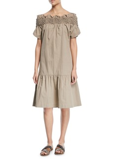 Brunello Cucinelli Crinkle-Cotton Off-the-Shoulder Dress with Smocking