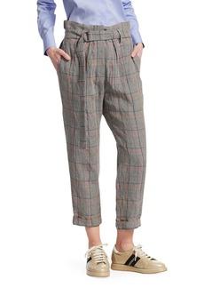 Brunello Cucinelli Crispy Linen Plaid Trousers