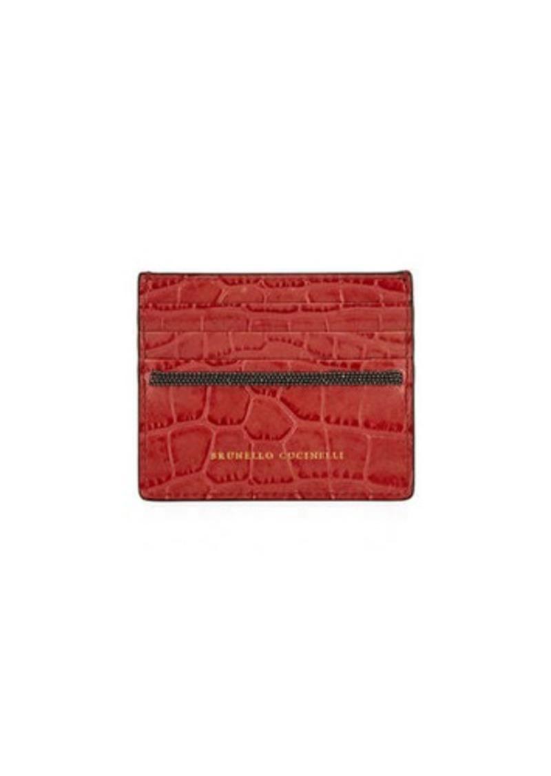 Brunello Cucinelli Croc-Embossed Leather Card Case with Monili