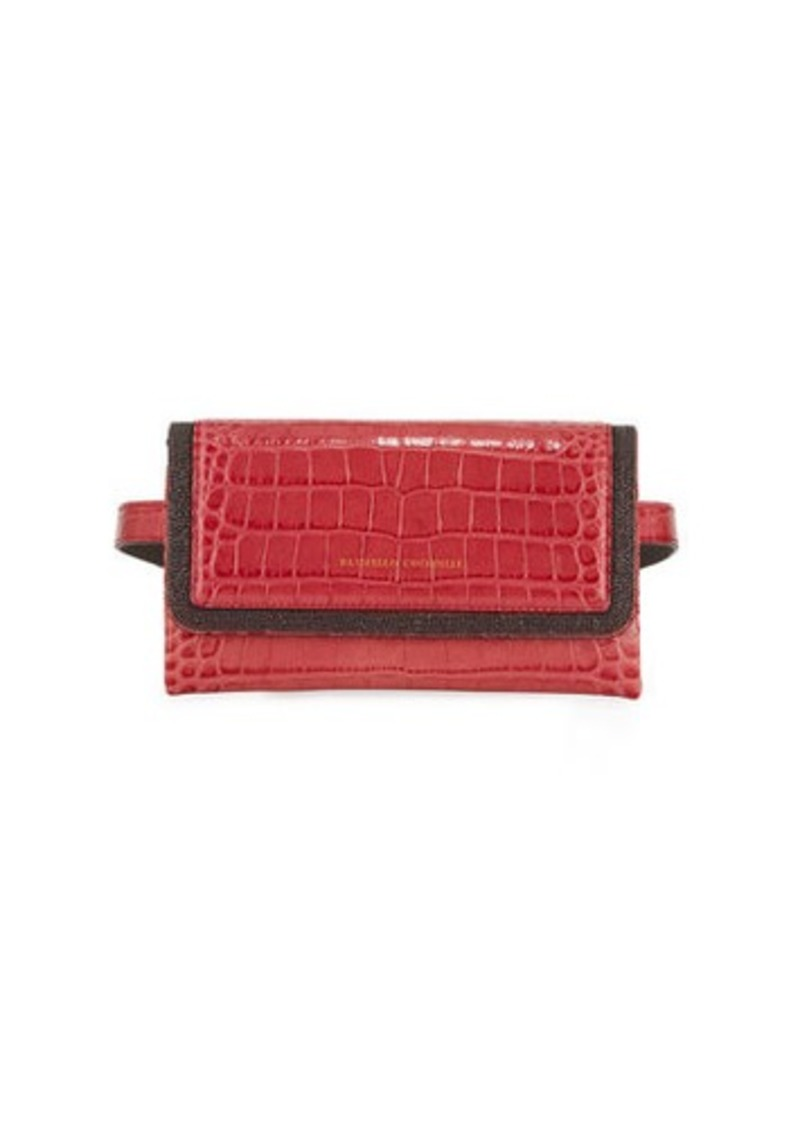 Brunello Cucinelli Croc-Embossed Monili Leather Crossbody Belt Bag