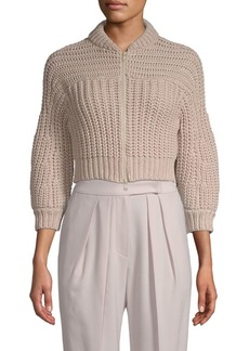 Brunello Cucinelli Cropped Front-Zip Sweater Jacket