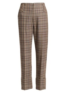 Brunello Cucinelli Cuffed Virgin Wool & Cotton Plaid Trousers