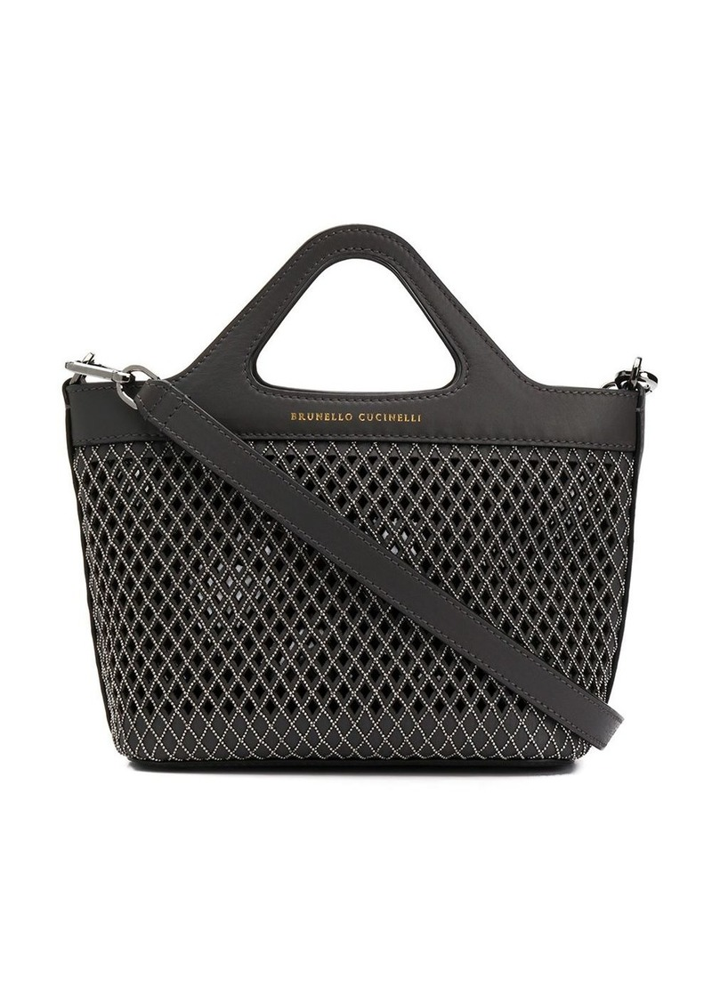 Brunello Cucinelli cut-out detail studded tote bag