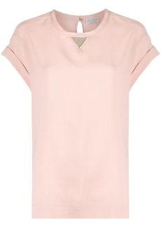Brunello Cucinelli diamond-cut embellished detail T-shirt