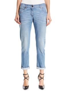 Brunello Cucinelli Distressed Straight-Leg Denim Jeans w/Rolled Hem