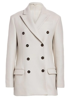 Brunello Cucinelli Double Breasted Military Peacoat