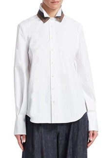 Brunello Cucinelli Double Collar Cotton Poplin Shirt