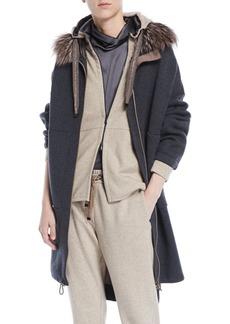 Brunello Cucinelli Double-Face Cashmere Long Zip-Front Coat w/ Fox Fur Trim