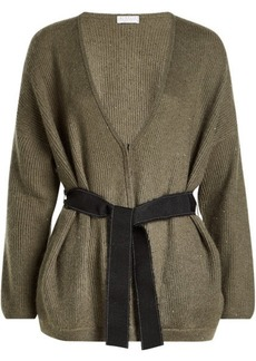 Brunello Cucinelli Embellished Cardigan with Cashmere, Silk, Mohair and Wool