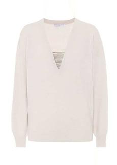 Brunello Cucinelli Embellished cashmere V-neck sweater