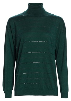 Brunello Cucinelli Embellished-Stripe Cashmere Silk Turtleneck Sweater
