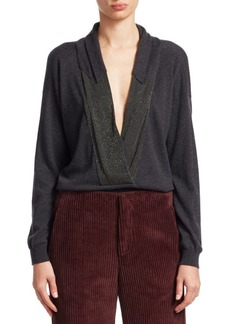 Brunello Cucinelli Embellished V-Neck Cashmere Knit Sweater