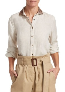 Brunello Cucinelli Embroidered-Collar Linen Blouse