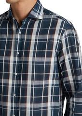 Brunello Cucinelli Exploded Plaid Button-Down Shirt