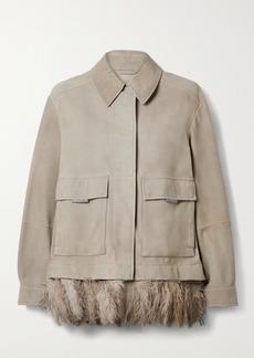 Brunello Cucinelli Feather-trimmed Bead-embellished Nubuck Jacket