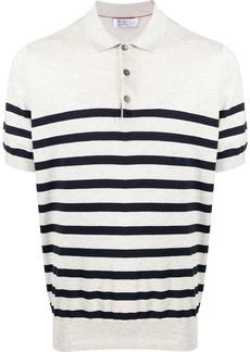 Brunello Cucinelli fine knit striped polo shirt
