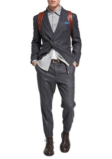 Brunello Cucinelli Flannel Wool-Silk-Cashmere Double-Breasted Two-Piece Suit