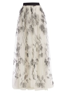 Brunello Cucinelli Floral Embroidered Long Tulle Skirt
