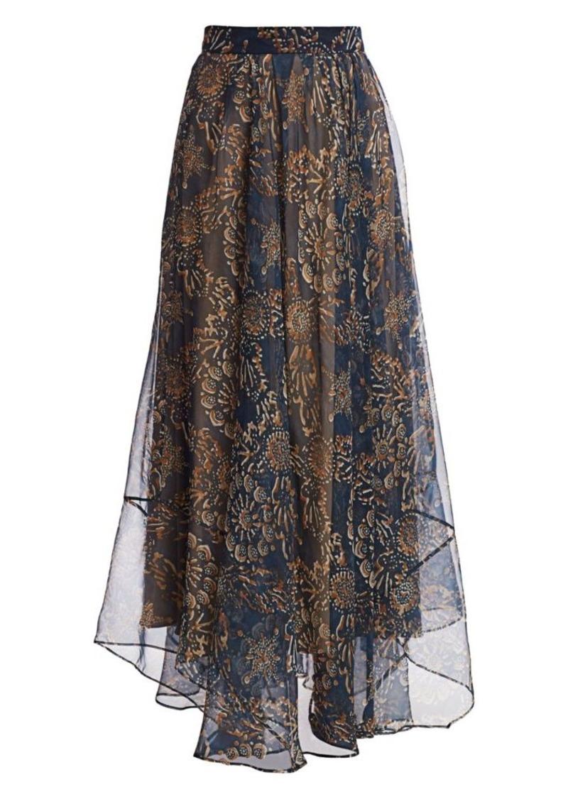 Brunello Cucinelli Floral Silk Maxi Skirt