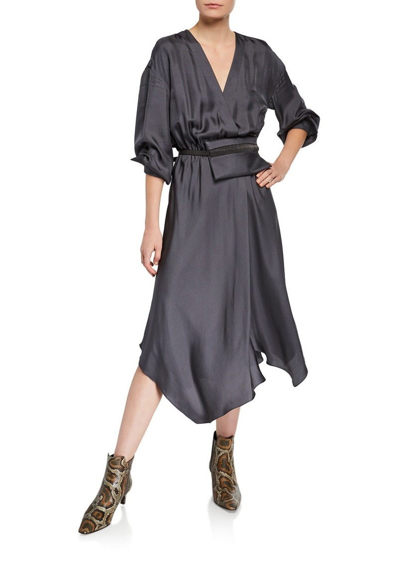 Brunello Cucinelli Fluid-Silk Dress with Belt Bag