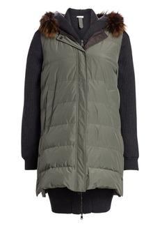 Brunello Cucinelli Fox Fur Trim Reversible Quilted Coat
