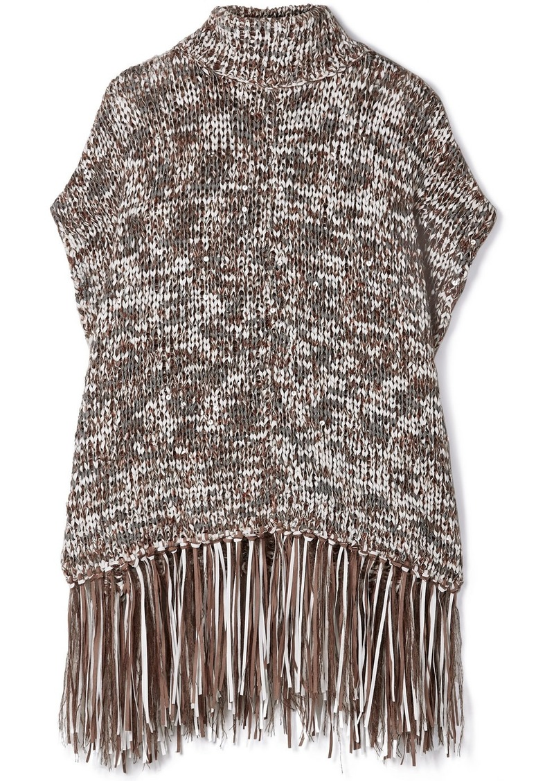 Brunello Cucinelli Fringed Sequined Chunky-knit Turtleneck Poncho
