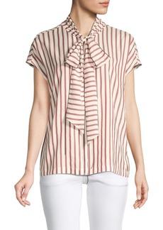 Brunello Cucinelli Front-Tie Silk Top