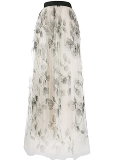 Brunello Cucinelli full embroidered tulle skirt