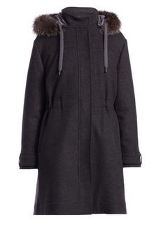 Brunello Cucinelli Fur-Trim Drawstring Cashmere & Wool Parka