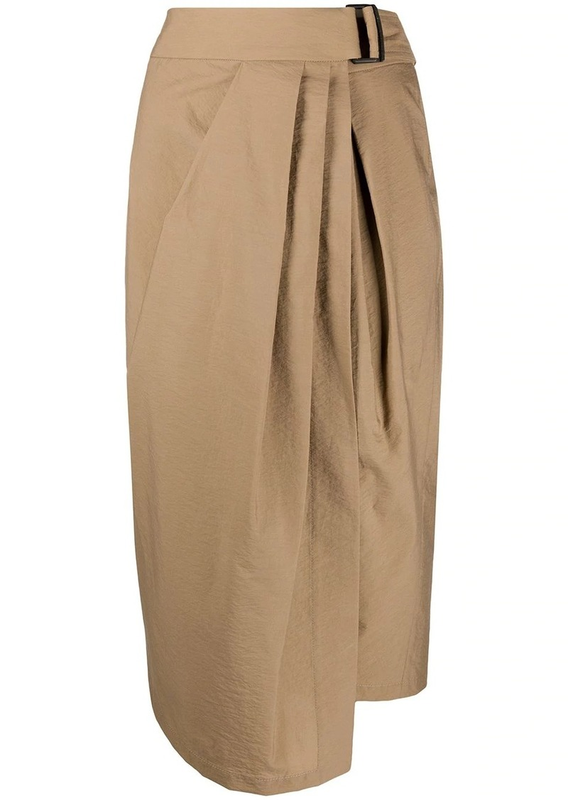 Brunello Cucinelli gathered asymmetric-hem skirt