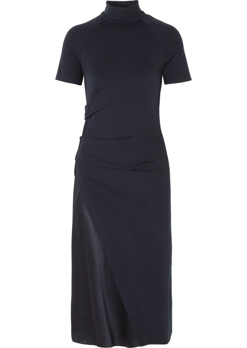 Brunello Cucinelli Gathered Stretch-wool And Satin Turtleneck Midi Dress