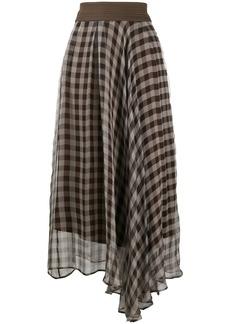 Brunello Cucinelli gingham print asymmetric skirt