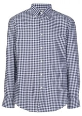 Brunello Cucinelli gingham print curved hem shirt