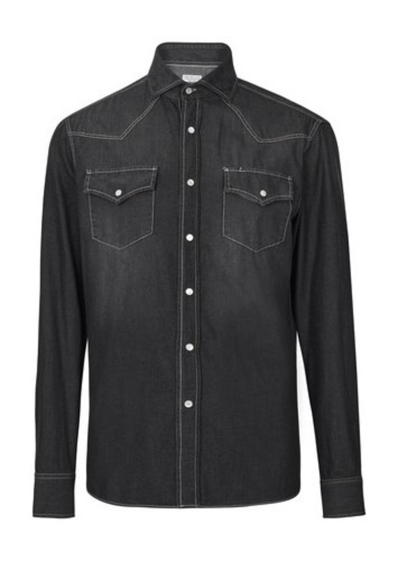 Brunello Cucinelli Grey denim shirt