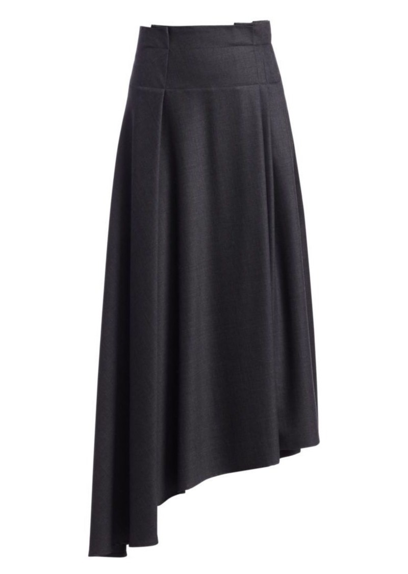 Brunello Cucinelli Grisaille Pleated Asymmetric Wool Skirt